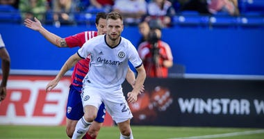 Philadelphia Union forward Kacper Przybylko (23) in action during the game between FC Dallas and the Philadelphia Union.