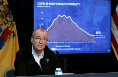 New Jersey Gov. Phil Murphy speaks about the COVID-19 daily percent positivity numbers on Friday, May 22, 2020.
