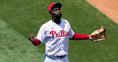 Philadelphia Phillies shortstop Didi Gregorius (18) during workouts at Citizens Bank Park.