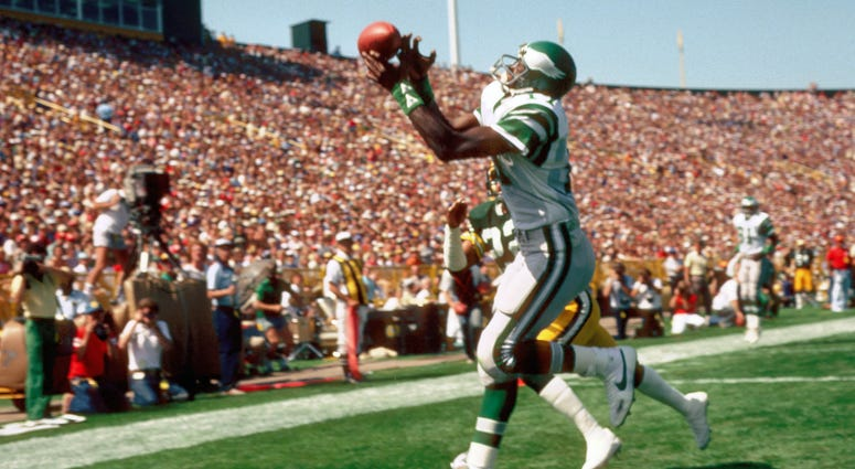 Philadelphia Eagles receiver (17) Harold Carmichael in action during the 1983 pre-season against the Green Bay Packers at Lambeau Field.