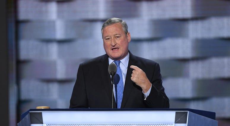 Jul 25, 2016; Philadelphia, PA, USA; Philadelphia mayor Jim Kenney speaks during the 2016 Democratic National Convention at Wells Fargo Arena.