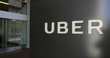 This March 1, 2017, file photo shows an exterior view of the headquarters of Uber in San Francisco.