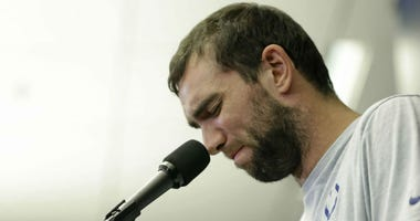 Indianapolis Colts quarterback Andrew Luck speaks during a news conference following the team's NFL preseason football game against the Chicago Bears, Saturday, Aug. 24, 2019, in Indianapolis.
