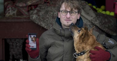 In this photo taken on Saturday, Feb. 2, 2019, Vaidas Gecevicius, who developed an app helping to match stray dogs with potential owners, poses for a picture with a dog and shows this dog's profile on the app in Vilnius, Lithuania.