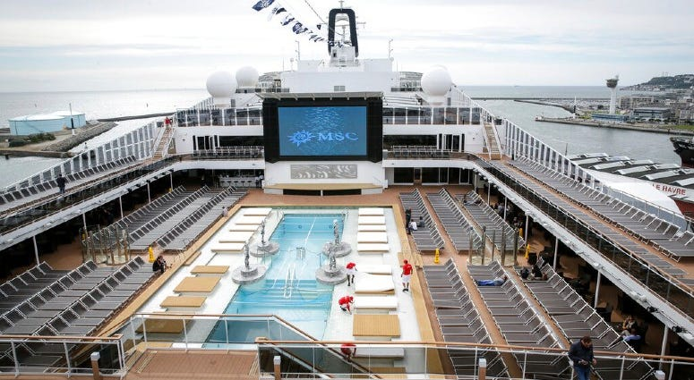 The upper deck pool area of the MSC Meraviglia cruise ship docked in Le Havre harbour, Normandy, France.