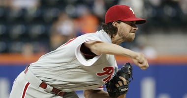 Philadelphia Phillies' Aaron Nola delivers a pitch during the first inning in the second game of a baseball doubleheader against the New York Mets Monday, July 9, 2018, in New York.