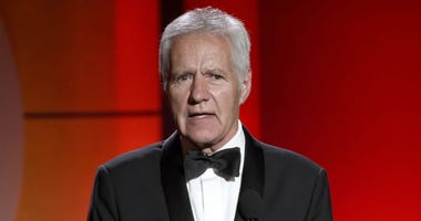In this April 30, 2017, file photo, Alex Trebek speaks at the 44th annual Daytime Emmy Awards at the Pasadena Civic Center in Pasadena, Calif.