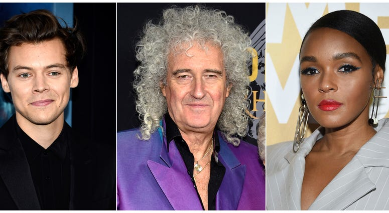 From left: Harry Styles, Brian May and Janelle Monae