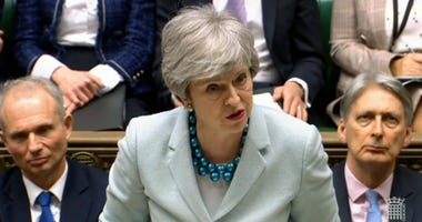 Britain's Prime Minister Theresa May makes a statement on Brexit to lawmakers in the House of Commons, London, Monday March 25, 2019.