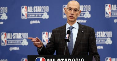 FILE - In this Feb. 16, 2019, file photo, NBA Commissioner Adam Silver speaks during the NBA All-Star festivities in Charlotte, N.C. Silver spoke to the media on Friday, April 12, 2019, in New York after a meeting of the NBA's Board of Governors. He menti