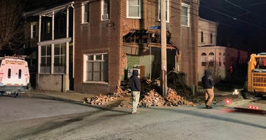 An SUV slammed into this building at the corner of Broad and Clifton streets in Collingdale.