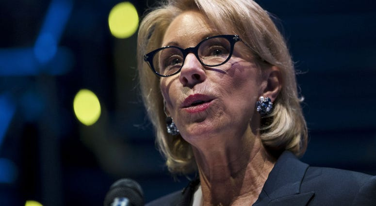 In this Sept. 17, 2018 file photo, Education Secretary Betsy DeVos speaks during a student town hall at National Constitution Center in Philadelphia.