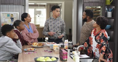"""This image released by ABC shows, from left, Miles Brown, Marsai Martin, Tracee Ellis Ross, Marcus Scribner, Anthony Anderson and Jenifer Lewis in a scene from """"black-ish."""""""