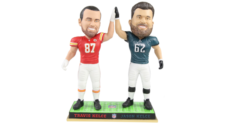 The National Bobblehead Hall of Fame and Museum unveiled its newest figurine: Travis and Jason Kelce.