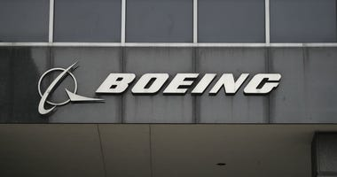 Photo taken on March 13, 2019 shows the Boeing logo at its headquarters in downtown Chicago