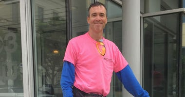 Brent Bundy is riding his bike across the country to raise awareness for breast cancer.