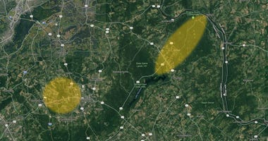 Map shows area of ongoing investigation into a series of explosions in Upper Bucks County.