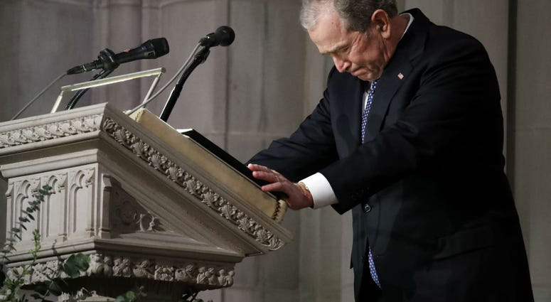 Former President George W. Bush speaks at the State Funeral for his father, former President George H.W. Bush, at the National Cathedral, December 5, 2018 in Washington, DC.
