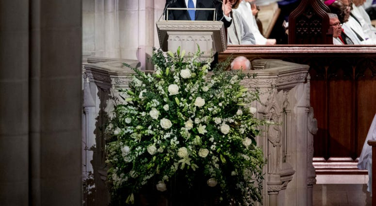 Presidential biographer Jon Meacham speaks during the State Funeral for former President George H.W. Bush at the National Cathedral, December 5, 2018 in Washington, DC.