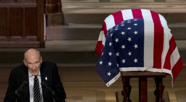 Former Sen. Alan Simpson, R-Wyo, speaks during the State Funeral for former President George H.W. Bush at the National Cathedral, December 5, 2018 in Washington, DC.