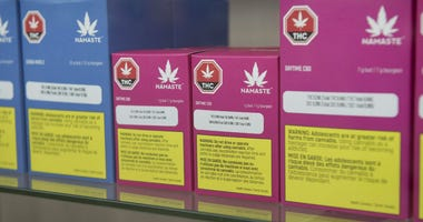 Cannabis products are shown inside a Cannabis NB retail store in Fredericton, New Brunswick, on Tuesday, Oct. 16, 2018.