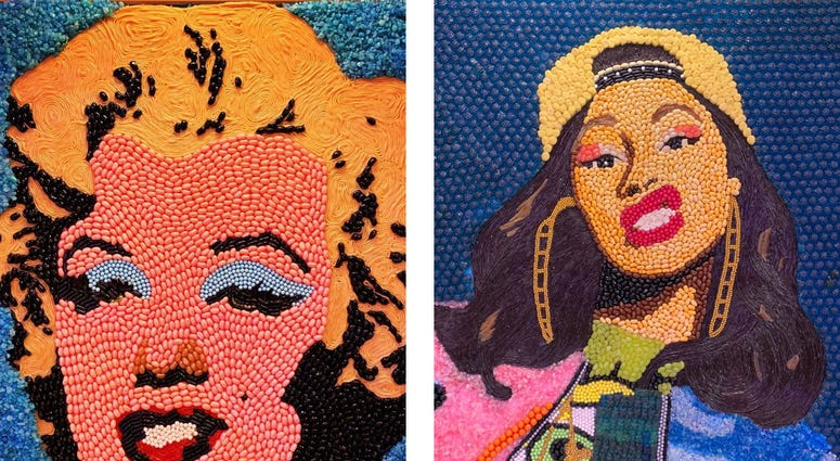 Details of candy portraits of Marilyn Monroe and Cardi B.