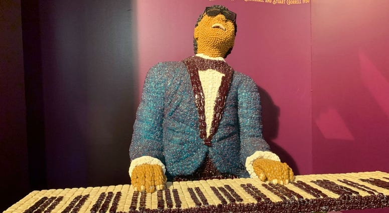 Detail from a candy sculpture of Ray Charles.