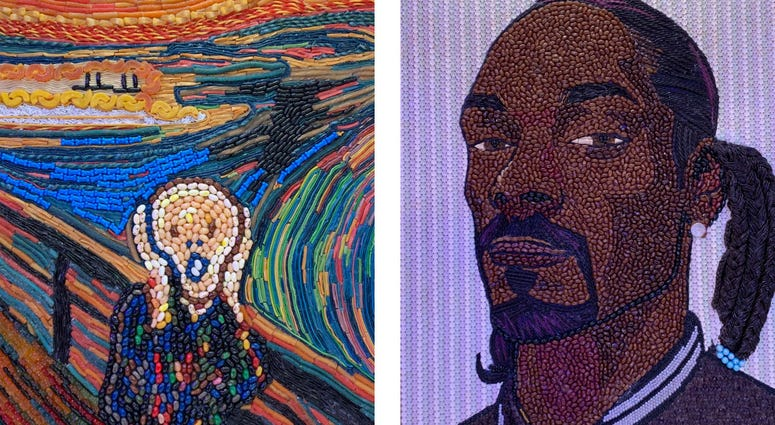 Details of a candy recreation of Edvard Munch's 'The Scream' and a candy portrait of Snoop Dogg.