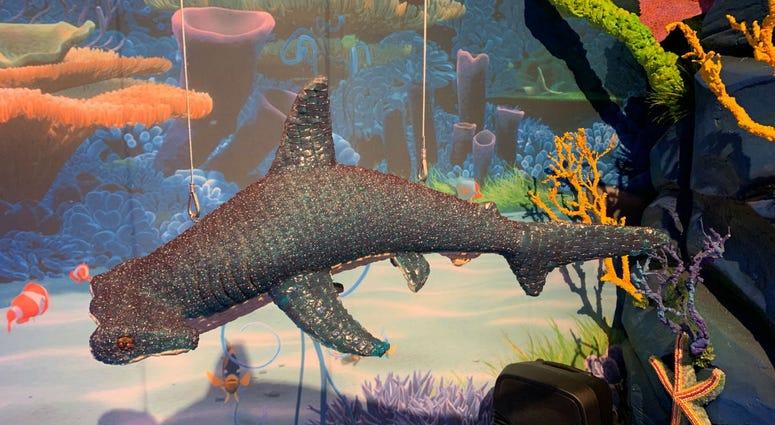 Detail from a candy sculpture of a shark.