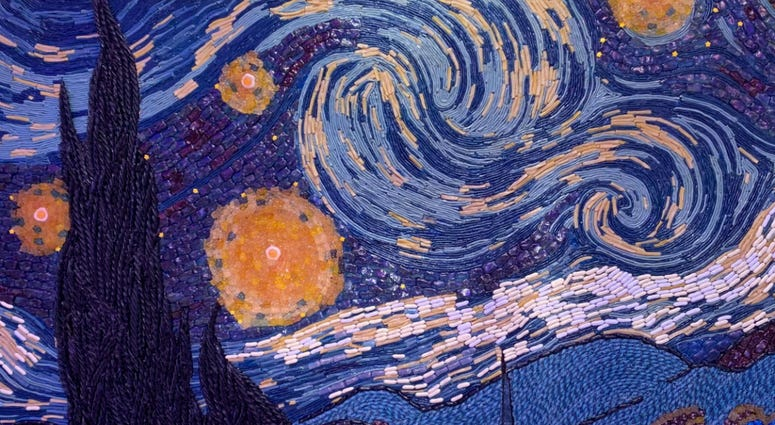 Detail from a candy recreation of Van Gogh's 'Starry Night.'