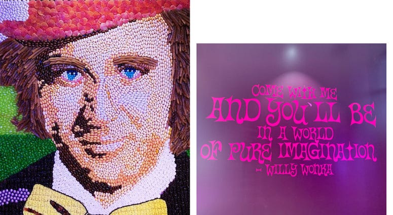 Detail of a candy portrait of Gene Wilder as Willy Wonka.
