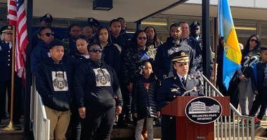 Police Commissioner speaks at the fifth anniversary of Officer Robert Wilson III's death.