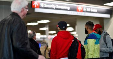 PHILADELPHIA, PA - JANUARY 25: Travelers wait in long lines after Philadelphia Airport TSA and airport workers held a protest rally outside the Philadelphia International Airport on January 25, 2019 in Philadelphia, Pennsylvania.