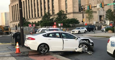 The driver of this car ran off after crashing it near 30th Street Station early Tuesday morning.