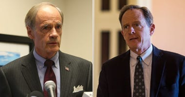 Democratic U.S. Sen. Tom Carper of Delaware and Republican U.S. Sen. Pat Toomey of Pennsylvania