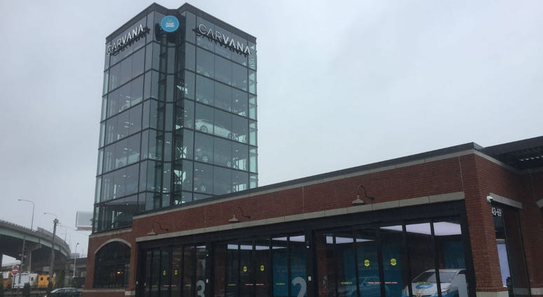 Carvana car dispensing building in Fishtown