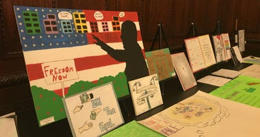 Two hundred students gathered at City Hall to present videos, posters, painting and books they made featuring Octavius Catto and other African-American pioneers in Philadelphia.