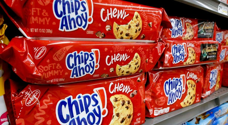 """Mondelez Global LLC is recalling 13-ounce packages of Chewy Chips Ahoy cookies due to an """"unexpected solidified ingredient,"""" the company said."""