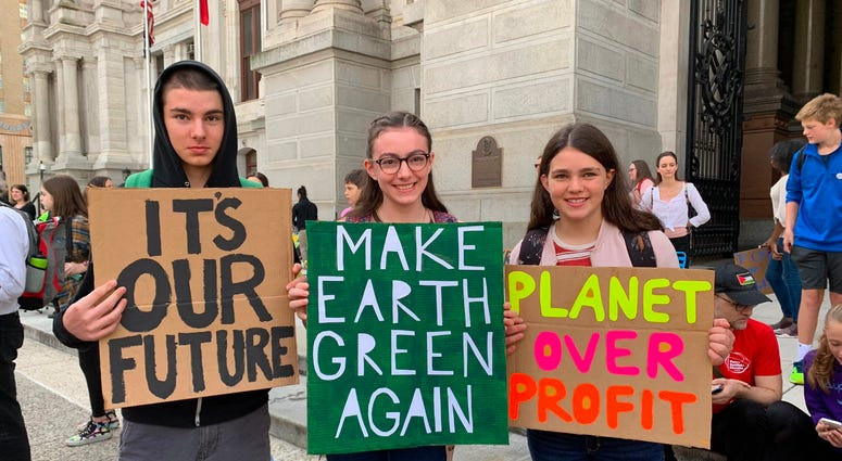 Thousands of Philadelphia and Philadelphia-area students skipped school Friday to gather at City Hall in solidarity with a global Climate Strike of young people all around the world.