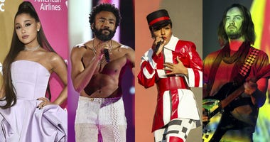 From left: Ariana Grande, Childish Gambino, Janelle Monae, Kevin Parker of the band Tame Impala