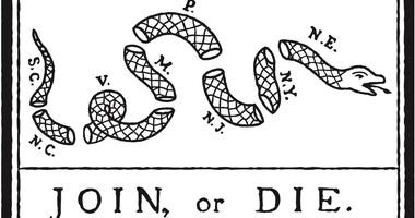 The Join, or Die cartoon, by Benjamin Franklin