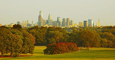 Philadelphia skyline from Fairmount Park across the Schuylkill River.