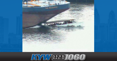 The moment of impact of a 250-foot sewage barge on a disabled duck boat on the Delaware River in July 2010. Two people died.