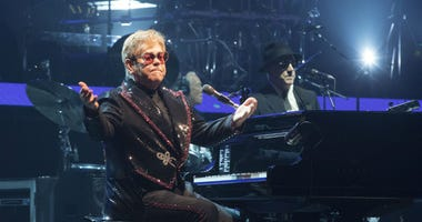 """Elton John performs in concert during the opening night of his """"Farewell Yellow Brick Road World Tour"""" at the PPL Center on Saturday, Sept. 8, 2018, in Allentown, Pa."""