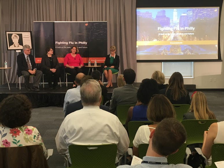 Panelists at a GSK-sponsored forum at the Penn State Navy Yard campus discuss the 1918 flu pandemic that struck Philadelphia.