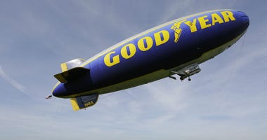 In this Friday, Feb. 5, 2016, file photo, the Goodyear Blimp Spirit of Innovation takes off for a flight over Super Bowl fan sites from the airport in Livermore, Calif.