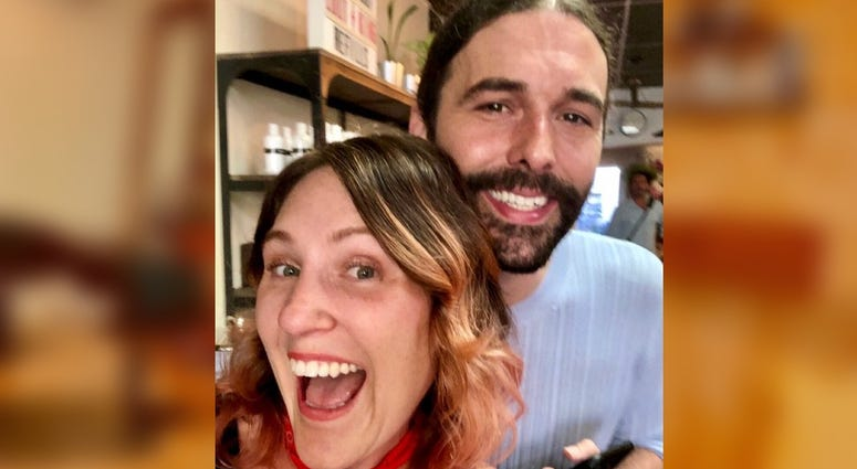 """Mockingbird Salon owner Heidi Wallace poses with """"Queer Eye"""" star Jonathan Van Ness. The hit reality show shot its fifth season, which debuted Friday, in Philadelphia."""