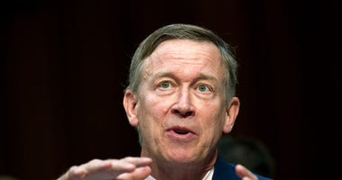 Colorado Governor John Hickenlooper speaks during a Senate hearing on Capitol Hill in Washington.