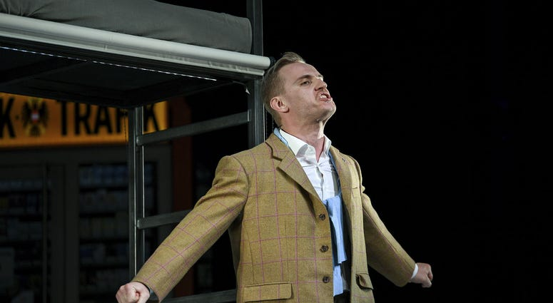 Actor Peter Posniak in the role of Hitler performs during a rehearsal in Konstanz, Germany.
