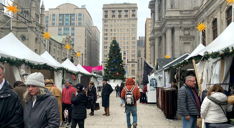 Shoppers at the pop-up holiday markets in Center City.
